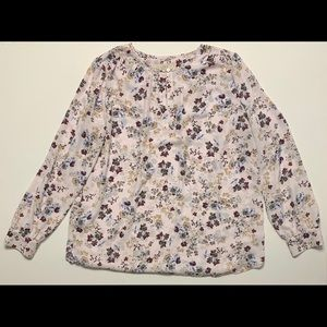 Loft - White Floral Sheer Blouse